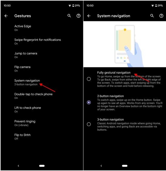 How to enable gestures in Android Q?